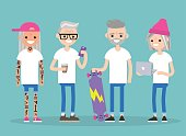 Forever young. Millennials in senior age. A group of trendy active seniors / flat editable vector illustration, clip art