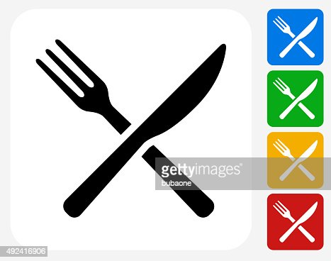 fork and knife icon flat graphic design vector art getty