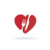 Fork and knife with heart shape lovely food symbol. Cutlery sign.