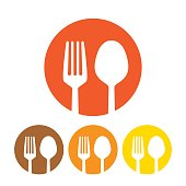 Fork and spoon icon vector isolated