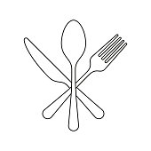 Fork, Knife and spoon Icon Flat outline Graphic Design