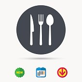 Fork, knife and spoon icons. Cutlery symbol. Calendar, download arrow and new tag signs. Colored flat web icons. Vector