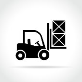 Illustration of fork lift icon on white background