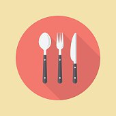 Fork spoon and knife. Vector illustration