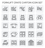 Forklift working with crate and carton icon set.
