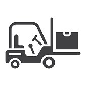Forklift delivery truck glyph icon, logistic and delivery, cargo vehicle sign vector graphics, a solid pattern on a white background, eps 10.