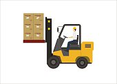 simple illustration of a forklift lifting boxes