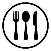 fork,spoon, and knife icon, outline vector