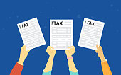 TAX form concept vector illustration of people showing fullfilled papers. Flat human hands hold white letters and annual fullfilled indiviual inmome tax forms on blue background