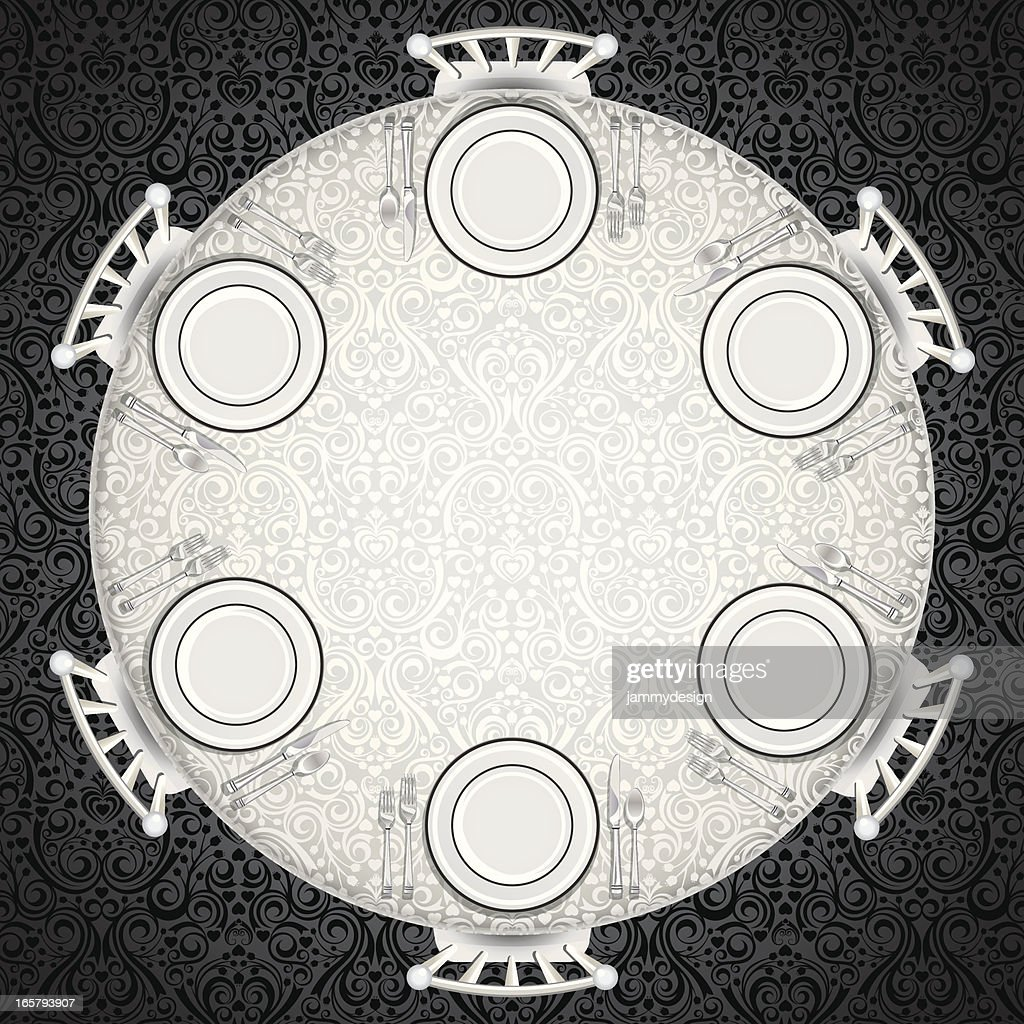 Best Dining Table Illustrations Royalty Free Vector: Formal Table Setting Vector Art