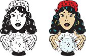 Vector illustration of a woman gazing into a crystal ball. Includes black and white and color versions.