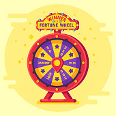 Fortune wheel winner. Lucky chance spin wheels game, modern turning money roulette spin lottery winner risk jackpot gaming and spinning gambling entertainment vector flat poster