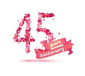 forty five (45) years anniversary sign of pink rose petals