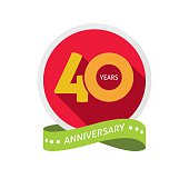 40th anniversary logo template with shadow on circle number, 40 years icon. Forty years birthday party symbol. Thirtieth holiday sticker, ribbon, banner poster, emblem, tag