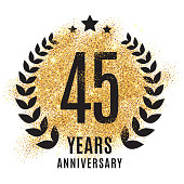 forty-five years gold anniversary symbol. 45 twenties. Golden glitter icon celebration for flyer, poster, banner, web header. Yellow sparkles event logo. Shine blur logotype.