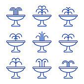 Fountain icon set. Vector isolated flat illustration.