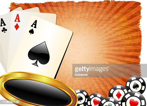 four aces on classic poker background : Vector Art