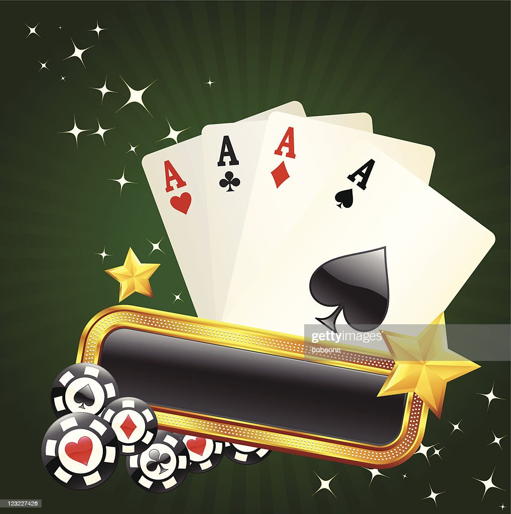 four aces on green glowing background : Vector Art