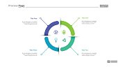 Four aspects circle diagram slide template. Business data. Graph, diagram. Creative concept for infographic, templates, presentation, report. Can be used for topics like research, banking, training