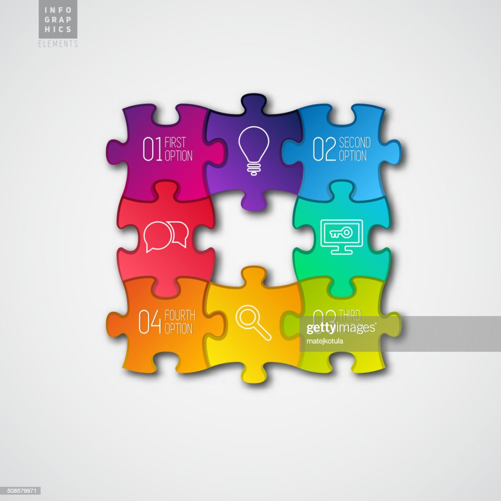 Four colorful Paper puzzle on white background - vector : Vector Art