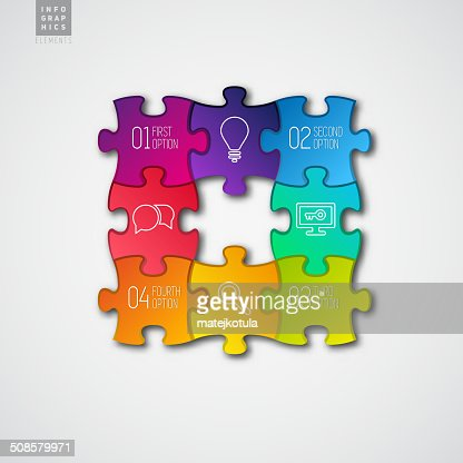 Four colorful Paper puzzle on white background - vector : Vectorkunst