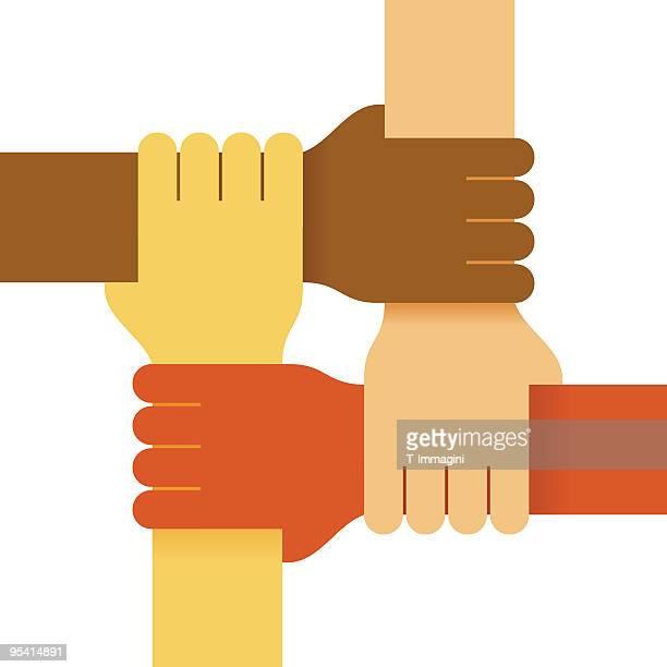 Vier Farben Hände