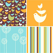 Four coordinating autumn designs of retro birds, flowers, stripes for greeting cards, backgrounds, banners, stationary
