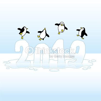 four dancing penguins celebrating on new year 2019 vector art