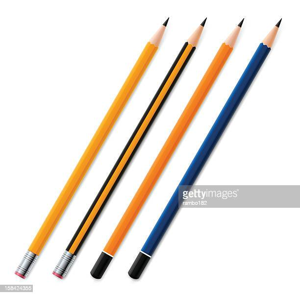 Four different pencils laid on a white surface