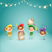 Four Dutch Sinterklaas helpers Zwart Piets - celebrate holidays - vector illustration on turquoise background with lights