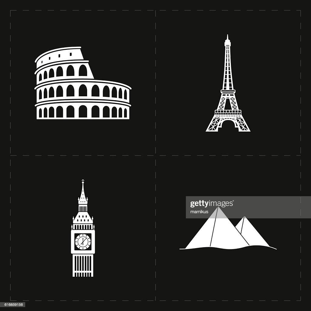 four flat landmark icons : Vector Art