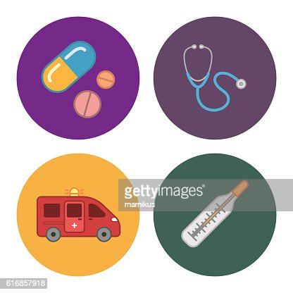four flat medicine icons : Vector Art