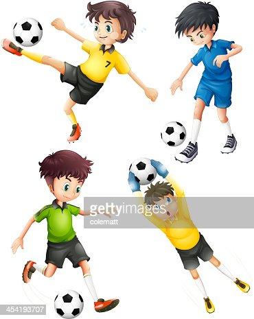 Four football players : Vector Art
