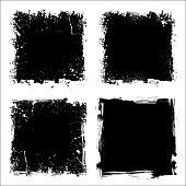 Set of four black grunge square backgrounds. eps10