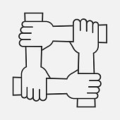 Four hands hold together for the wrist other. Four connected hands. Symbol for togetherness. isolated on white background. Vector illustration. Eps 10.