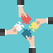 Four businessmen hands putting puzzle pieces together. Flat style illustration. Teamwork, cooperation, business and solution concept. EPS 8 vector illustration, no transparency