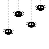 Four hanging black spiders on dash line web. Happy Halloween. Spider set. Cute cartoon baby character set. Flat material design. White background. Isolated. Vector illustration