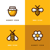 Four linear honey icons with bee symbol, jar and honeycomb in a shape of flower.