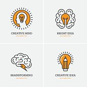 Four icons with human head, brain and light bulb for creative idea, thinking, brainstorming design concept