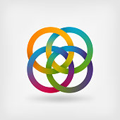 four interlocked rings in rainbow colors. vector illustration - eps 10