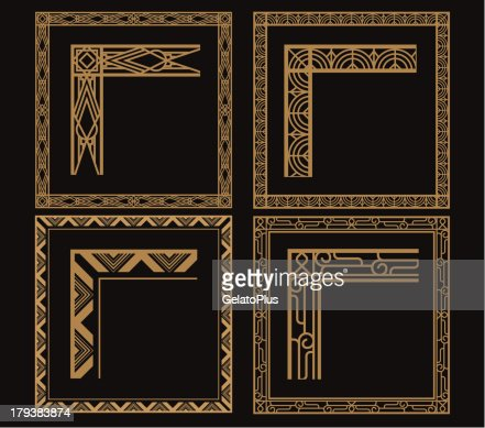 four intricate gold art deco borders on black vektorgrafik. Black Bedroom Furniture Sets. Home Design Ideas