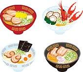 Four Japanese Ramen Noodles.
