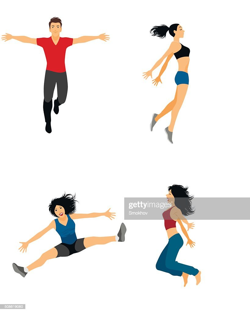 Four jumping people : Vector Art