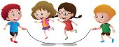 Four kids playing jump rope illustration