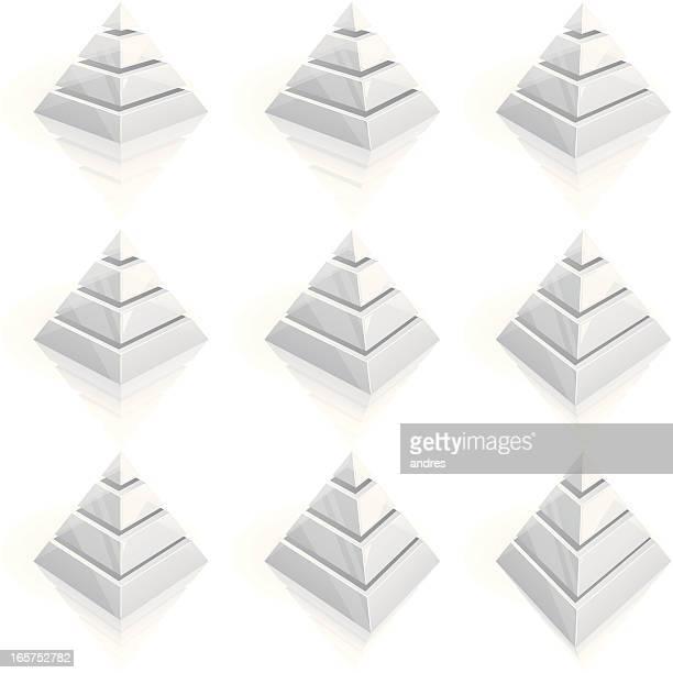 Four layered transparent pyramids - 3D series