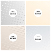Set of four monochrome background with dots and halftone effect. Vector illustration.