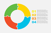 Four pieces puzzle circles diagram. Circles business presentation infographic. 4 steps, parts, pieces of process diagram. Section compare banner. Jigsaw puzzle info graphic. Marketing strategy.