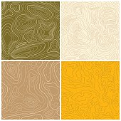 Set of four seamless topographic map patterns. Vector illustration