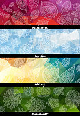 Four seasons horizontal banners. Texture for wallpaper, fills, web page background