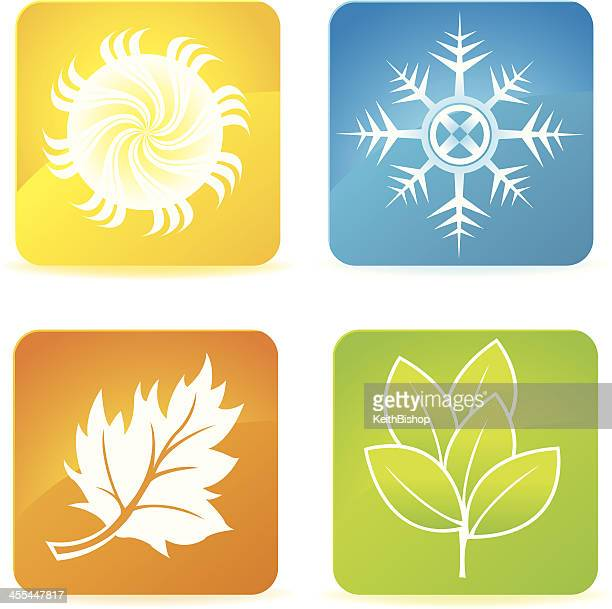 Four Seasons Icons - Winter, Summer, Spring, Fall